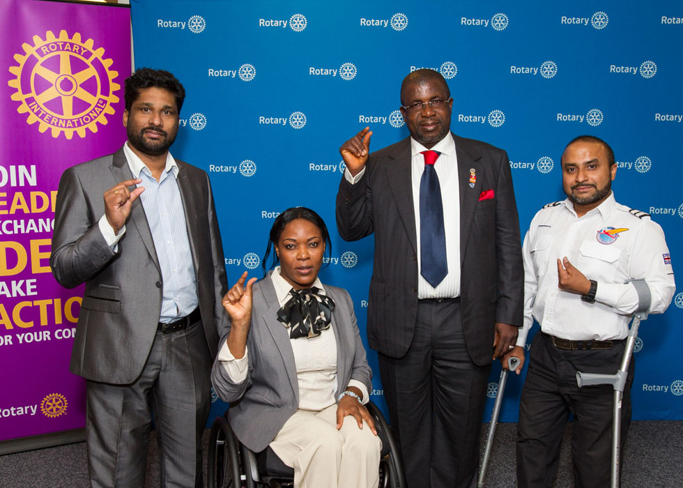 Manoj Soma, CEO of Choice International, BPF ambassador Anne  Wafula-Strike, MBE, Rotary International`s Polio ambassador Sir Emeka Offor and Freedom in  the Air's Gautam Lewis